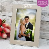 Engraved Silver Love Photo Frame