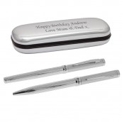 Engraved Twin Silver pen Set