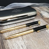 Engraved Black And Gold Pen Gift Set