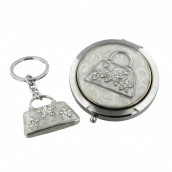 Personalised Handbag Design Compact Mirror with Free Keyring