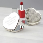 Personalised Crystal Heart Compact Mirror
