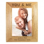 You And Me Personalised Wooden Photo Frame
