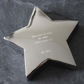 Engraved Silver Star Paperweight