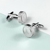 Silver Tread Engraved Round Cufflinks