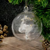 Personalised Glass Christmas Reindeer Bauble