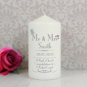 Personalised Mr and Mrs Wedding Pillar Candle