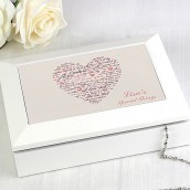 Personalised White Wooden I Love You Jewellery Box