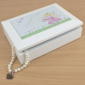 Personalised White Wooden Fairy Jewellery Box