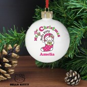Personalised Hello Kitty 1st Christmas Bauble