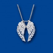 Silver Crystal Angel Wings Pendant With Engraved Gift Case