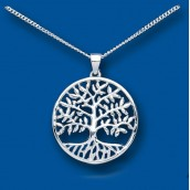 Silver Tree of Life Pendant With Engraved Gift Case