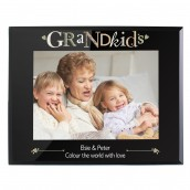 Engraved Black Glass Photo Frame - Grandkids