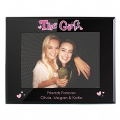 Engraved Black Glass Photo Frame - The Girls