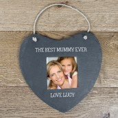 Personalised Hanging Slate Heart Photo Frame