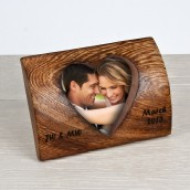 Personalised Rounded Wooden Heart Photo Frame