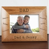 Personalised Dad Sentiments Wooden Photo Frame