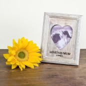 Personalised Heart Aperture Wooden Photo Frame