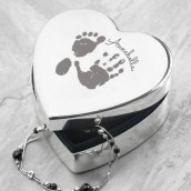 Engraved Handprint Heart Shaped Trinket Box