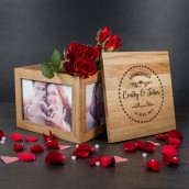 Personalised Oak Wood Couples Keepsake Box