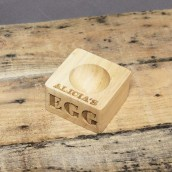 Personalised Carved Olive Wood Egg Cup