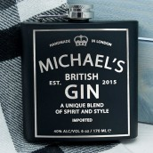 Personalised British Gin Inspired Hip Flask