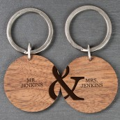 Personalised Wooden Keyring Couple Set