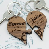 Personalised Couples Jigsaw Heart Keyring