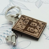Engraved Swirl Initial Wooden Keyring