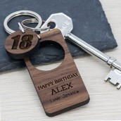Engraved Birthday Wood Keyring