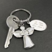 Personalised Crystal Angel Keyring