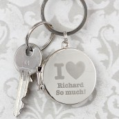Personalised Round I Love Heart Locket Keyring