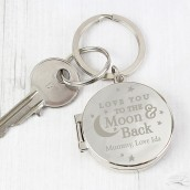 Personalised Love You To The Moon Locket Keyring