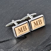 Silver and Walnut Rectangle Engraved Cufflinks
