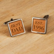Leather Style Personalised Cufflinks