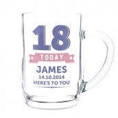 Engraved Glass Tankard, Birthday Star Design