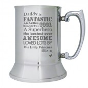 Engraved Stainless Steel Tankard, He is…Design