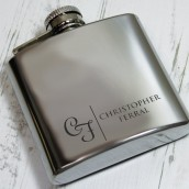 Engraved Initials Hip Flask