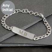 Engraved Initial Chain Bracelet