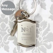 No.1 Engraved Photo Locket Keyring