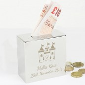 Personalised Castle Design Square Money Box
