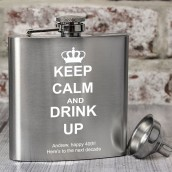 Personalised Keep Calm and Drink Up Hip Flask