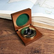 Engraved Brass Travellers Compass in Wooden Case