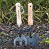 Engraved Garden Fork and Trowel