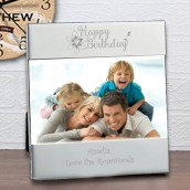 Engraved Flower Design Happy Birthday Frame