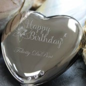 Happy Birthday Engraved Swarovski Heart Mirror