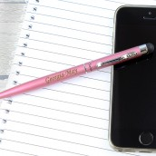 Engraved Pink Stylus and Pen