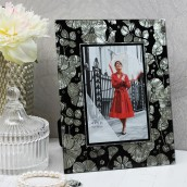 Personalised Black Floral Glass Photo Frame