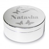 Engraved Round Butterfly Design Trinket Box