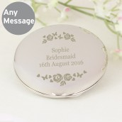 Engraved Vintage Rose Compact Mirror