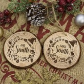 Engraved Pair of Couple's Tree Decorations